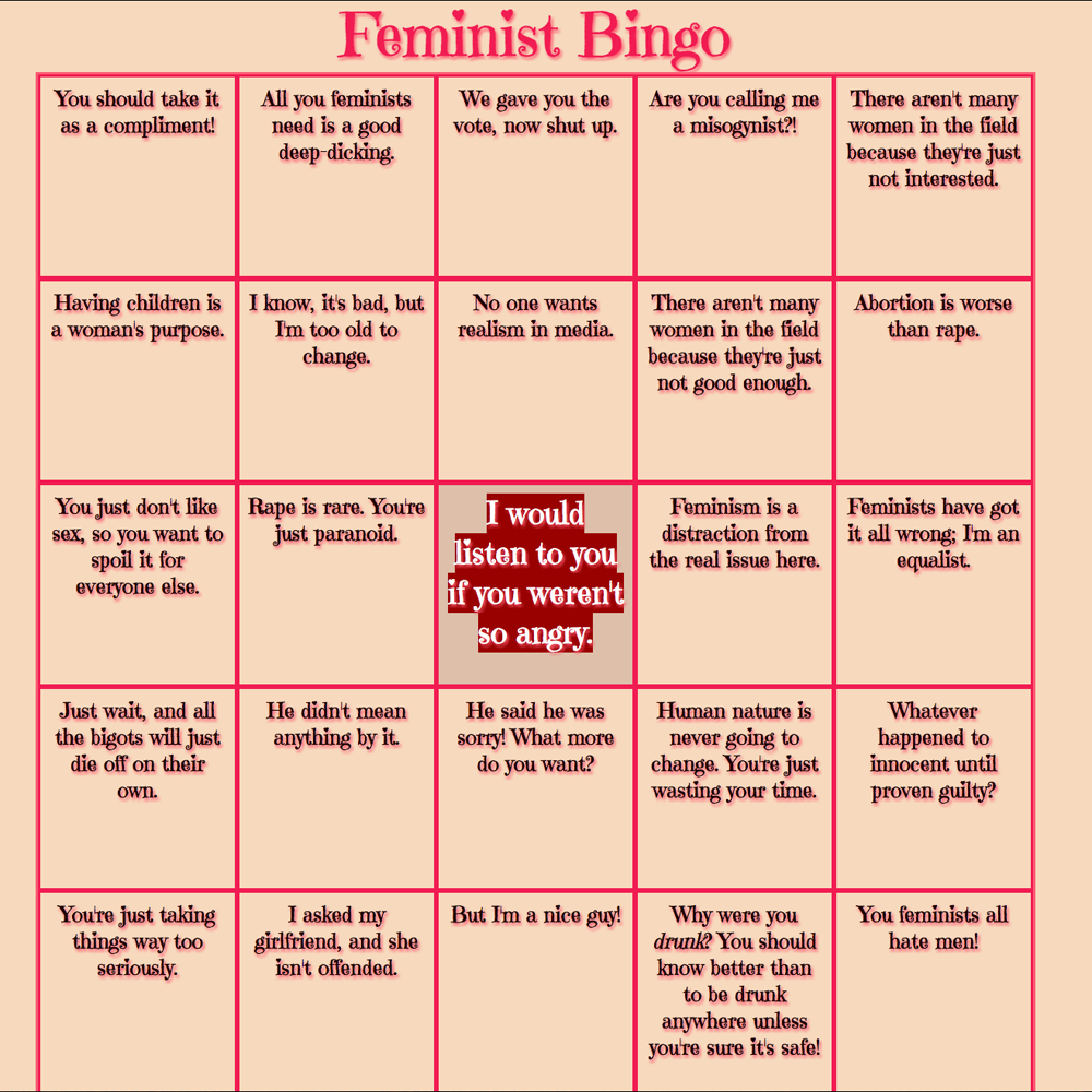 Screenshot of the Feminist Bingo card