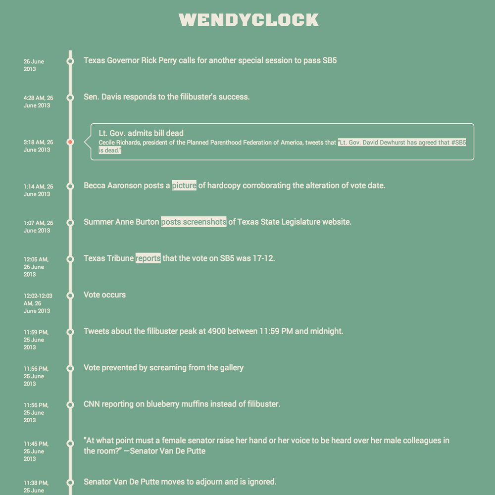 Screenshot of the Wendyclock visualization